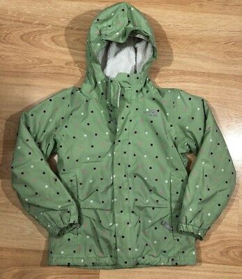 THE NORTH FACE Jacket Girls Size Medium Green With Polka Dots