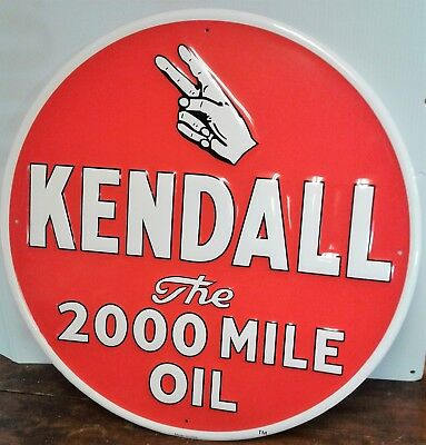 Kendall Oil Advertising Large Round Metal Sign Red Background White Lettering