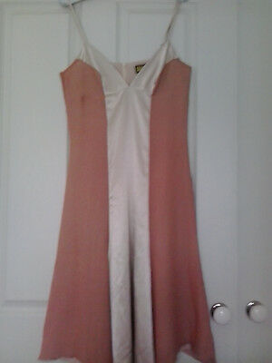 REVIEW Pink Silk Contrast Color Block Slip Night Dress Size 10