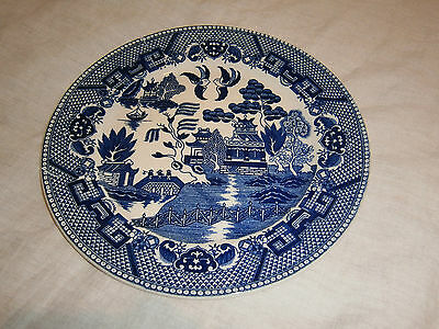 Vintage Japanese Willow Blue & White Dinner Plate - Nearly 24 Cms Across