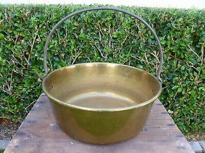 Large~Antique~Vintage~French~Country~Solid~Brass~Jam~Pot~Cauldron