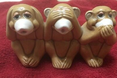 "Ceramic Wise Monkeys Figurine, Brown,2-1/4"" x 4"" - SEE NO EVIL"