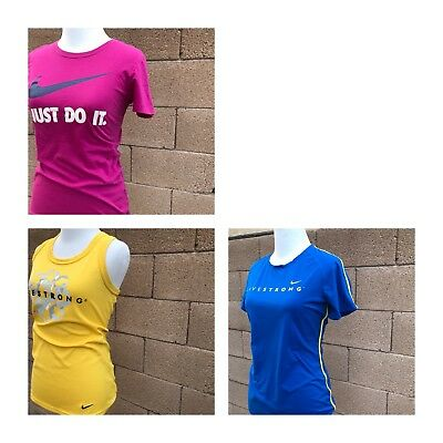 Nike Women's Lot Small Shirts Stretch Cotton Livestrong Running Yoga Activewear