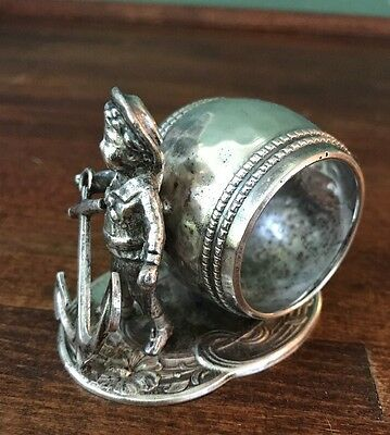 Antique Victorian Figural Napkin Ring Sailor, Anchor  Silver Plated Floral Base