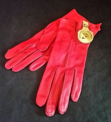 VTG LADIES GLOVES RED Deerskin Genuine Leather Unlined Size 6.5 NOS NWT