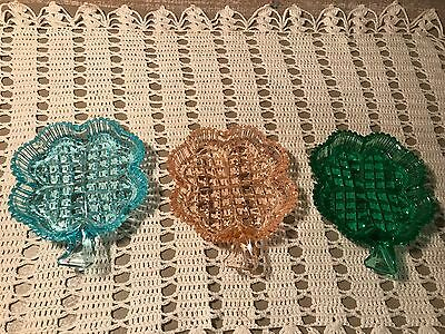 Czechoslovakian Decorative Four Leaf Clover Dishes Set of Three Colors