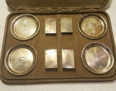 4 Sterling Silver Art Deco Ashtrays and Match Boxes