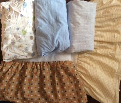 Lot- Two Infant Crib Skirts, Dust Ruffles & Three Fitted Crib Sheets. Infant Boy