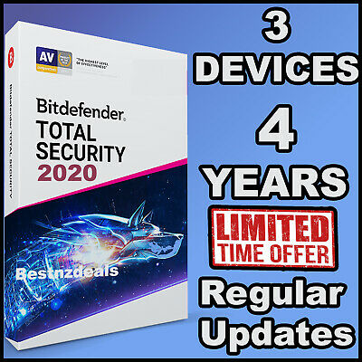 Bitdefender Total Security 2019 / 2020 4 Years 3 Devices Activation  Download