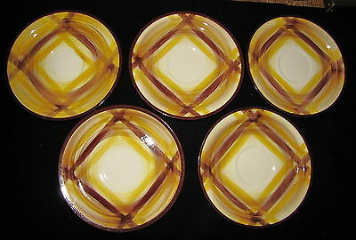 Vernonware Metlox ORGANDIE Brown and Gold Plaid Vintage SAUCERS Set of 5 '37-'58