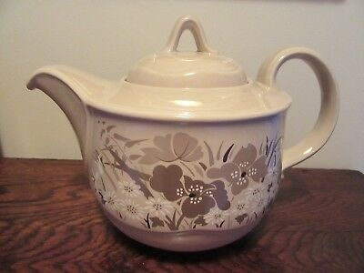1980s Poole Pottery Mandalay Teapot 2pt Made in England Beige Floral Neutral
