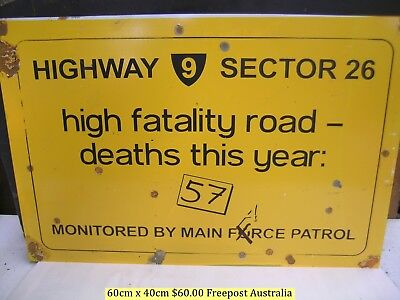 MAD MAX 1  FATALITY ROAD DEATH TOLL RUSTIC TIN SIGN $20 start