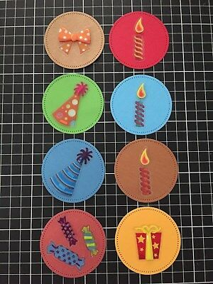 8 x Round Birthday Card Toppers / Present Tags Handmade 6cms