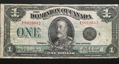 1923 $1 Dominion Of Canada Banknote Beautiful Collectable Grade!! King George V!