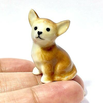 Miniature Chihuahua Statue Ceramic Animal Figurine Tiny Dog Collectibles Decor