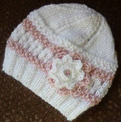 Newborn Baby Beanie, Handknitted & Crocheted By Myself Cute Pattern With Rosette