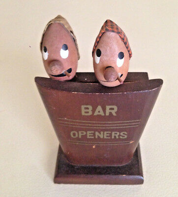 Vintage Bar Openers Bar Set - Corkscrew Opener Wood  -  Japan 1950's
