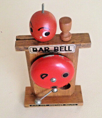 Vintage Bar Bell Bar Set - Opener Swizzel Stick Wood  -  Japan 1950's