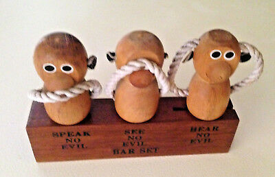 Vintage Three Wise Monkey's Wooden Bar Set,speak No,see No,hear No Evil Japan
