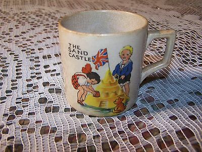 Vintage Antique English Pottery Porcelain The Sand Castle England Cup Mug Beach