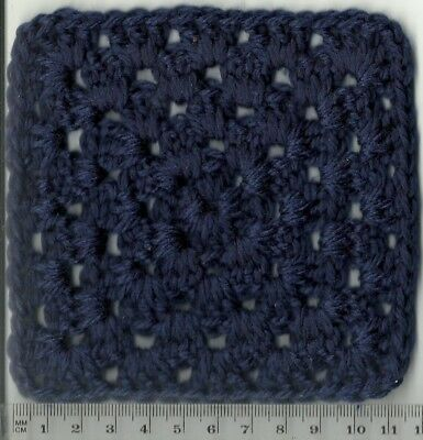 25 NAVY BLUE HAND-CROCHETED 5 ROW SQUARES - 11.5 cms - LOT 2