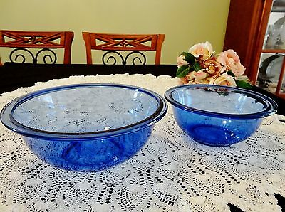 Two Vintage Cobalt Blue Pyrex Bowls Made in USA