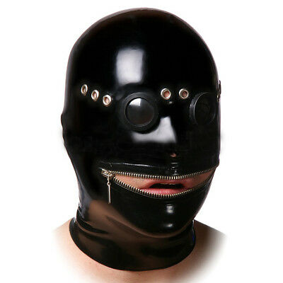 Latex mask with mirror goggles, gummy rubber hood (custom color, size and rear)