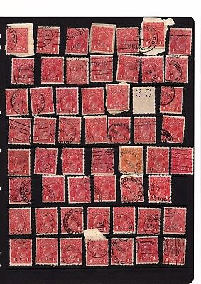 Australia KGV red shades 1d array die I - used collection 50+