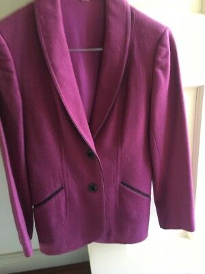 Vintage Wool Blazer 70s 80s Fitted Size 6 - 8 Purple