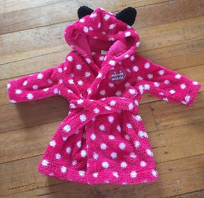 Minnie Mouse Plush Dressing Gown Robe Size 00 3-6m