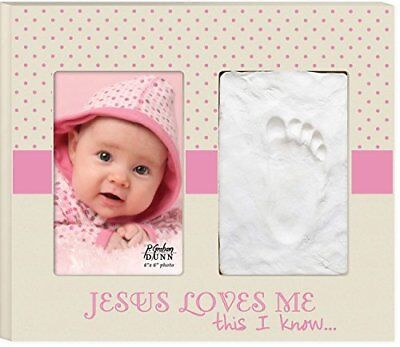 Pink Baby Girl Jesus Loves Me 9 x 10 Footprint/Handprint Picture Frame Wall Sign