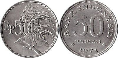 1971 Indonesia 50 Rupiah Coin Carded 1971 Money
