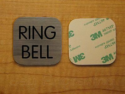 Engraved 2x2 RING BELL Brushed Metal Finish Plastic Plate | Door Bell Tag Sign