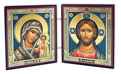 Christ the Teacher and Virgin of Kazan Russian Orthodox Icon Diptych 5 1/4 Inch