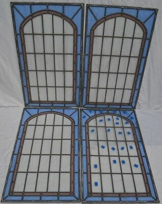 4 plain leaded light stained glass window panels. R725. WORLDWIDE DELIVERY!!!