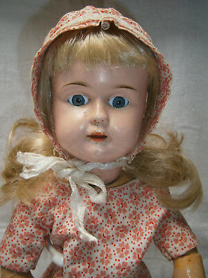 "17 "" ANTIQUE c 1888 onwards GERMAN METAL HEAD DOLL ON JOINTED COMPOSITION BODY"