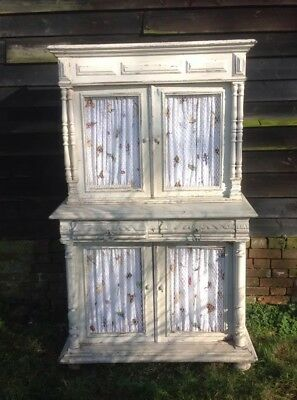 Pretty Antique Painted Wood Dresser - French? Great Insect Print Curtains