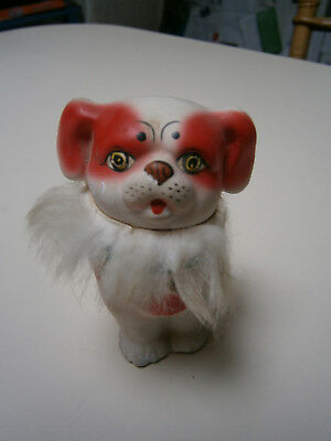 Vintage Chinese Plaster Dog  , Head Is On A Spring And Bobbles Around.