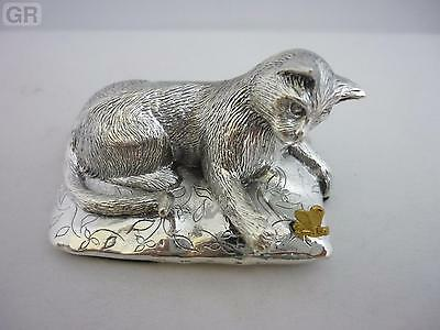 Stunning Hallmarked Sterling Silver Cat Statue Brand New