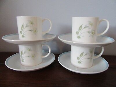 Susie Cooper England Coffee Cans Set of 4 White Blue Floral 1950s Mid-Century