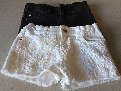 H&m/primark Girls Black/white Shorts - Age 8-9
