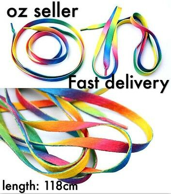 Free Shipping 1 Pair Rainbow Candy Colored Shoe Laces Shoelaces A