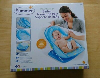 Summer Deluxe Baby Bather Blue Travel Bath Support Seat Chair Backrest Newborn