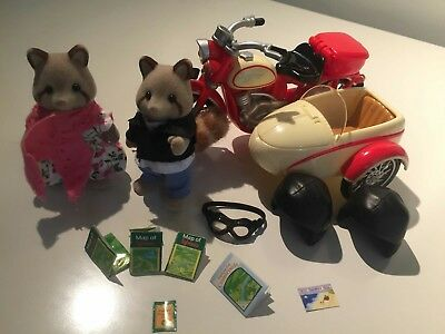 Genuine Sylvanian Families Motorcycle and Sidecar complete set unboxed excellent