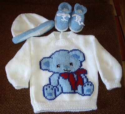 Teddy Bear Babyjumper Plus Hat And Sneaker/booties. New Hand Knitted 6/12 Months