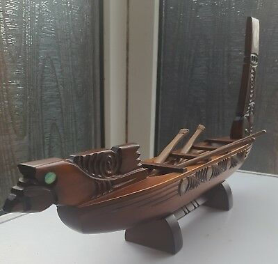 maori carving wooden boat nautical New Zealand Tribal vintage Dragon longboat