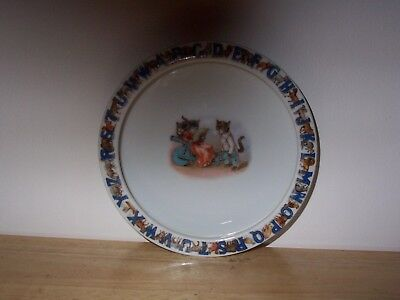 Vintage ABC child's feeding dish, Germany, heavy, fun learning tool, colorful