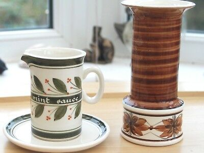 Jersey Pottery Vase in Brown & Mint Jug & Saucer in Cream & Green Collectable