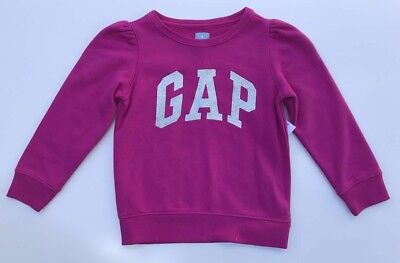 NEW BABY GAP Kids Girl Pink LOGO Sparkle Sweatshirt Sweater w Pleat Detail 4T 4