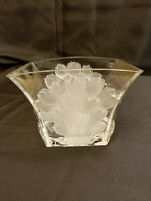 Frosted Boheman Crystal Tulip Vase Czech Republic 24% Lead Crystal
